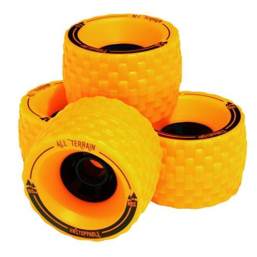 MBS All-Terrain Longboard Wheels (4), Orange (Off Skateboarding Road)