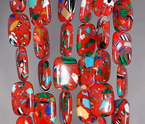 - Matrix Turquoise Gemstone RED Mosaic Rectangle 18X13MM Loose Beads 15.5