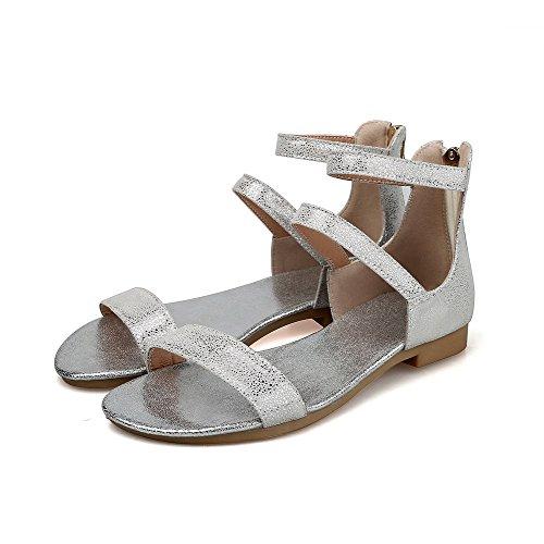 AmoonyFashion Womens Solid Low Heels Zipper Open Toe Sandals Silver 6ba8eRIZ