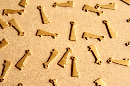 - 8 pc. Raw Brass Delaware State Charms/Blanks: 5mm by 13.5mm