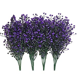 CATTREE Artificial Plants Shrubs Bushes, Plastic Fake Flowers Wedding Indoor Outdoor Home Garden Verandah Kitchen Office Table Centerpieces Arrangements Christmas Decoration - Deep Purple 4 pcs 52
