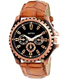 Matrix Analogue Round Black Dial & Brown Leather Strap Watch For Men's/Boys-Wch-121