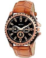 Matrix Analog Black Dial ,Black Leather Strap Wrist Watch Men & Boys -WCH-121