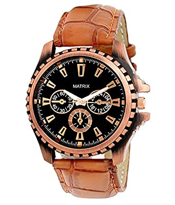 buy matrix analogue round black dial brown leather strap watch for