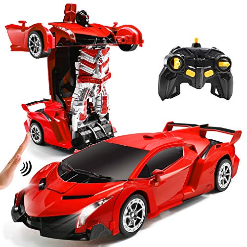 Jeestam RC Cars Robot for Kids Remote Control Transformrobot Car Toys with Gesture Sensing One-Button Deformation Auto Demo, 1:14 Scale 360° Rotation Light Music, Best Gift for Boys Girls (Red)