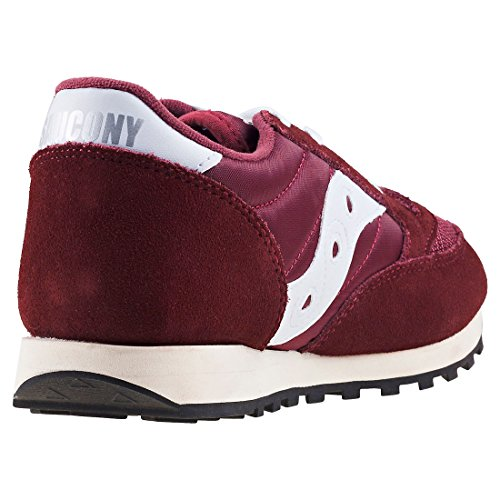Saucony Youth Jazz Original Vintage A17000-3 Leather Trainers Burgundy