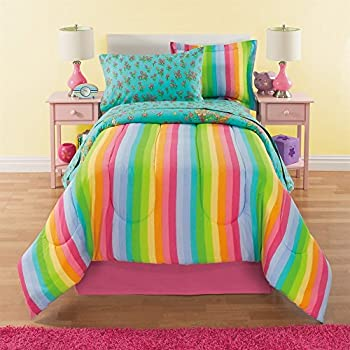 dream factory unicorn rainbow comforter set full queen pink home kitchen. Black Bedroom Furniture Sets. Home Design Ideas