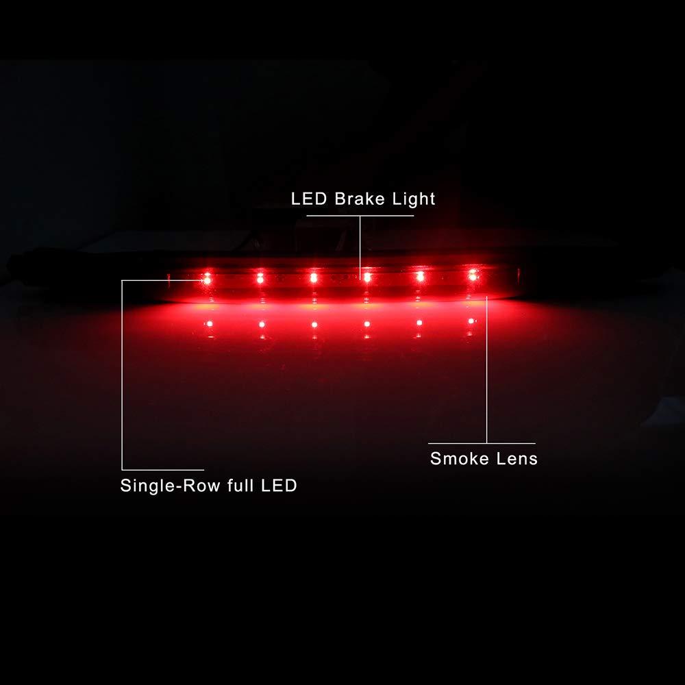 TUPARTS 3rd Brake Light High Mount Brake Light 15120540,1228-0126,923-264 LED Rear Light Black+Smoke Lens Fit for 02-12 Chevrolet Avalanche