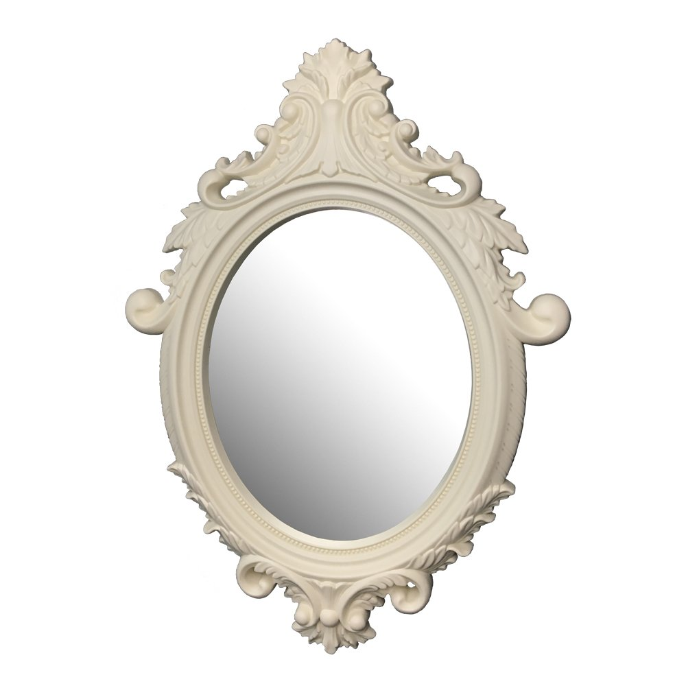 French Country Style Wall Decorative Mirror in Ivory Color in Apporx.15.7''x21.6''x1.37''Thk. For Hallway, Bedrooms, Dressers, Bathroom