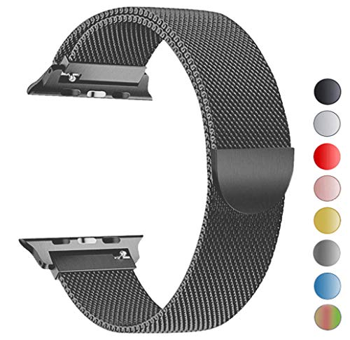 Seoaura Compatible Apple Watch Band 38mm 40mm, Stainless Steel Milanese Loop Replacement Strap with Magnetic Closure iWatch Series 4 3 2 1 Sports (Space Grey, 38mm/40mm)