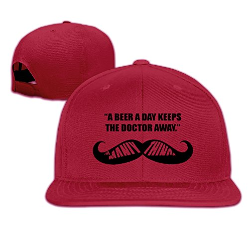 BASEE A Beer A Day Keep The Doctor Away Adjustable Flat Along Baseball Cap Red (A Beer A Day Keeps The Doctor Away)