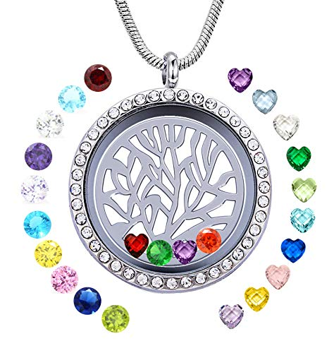 JOLIN Family Tree of Life Floating Charms Living Memory Locket Pendant Stainless Steel Necklace with 24 PCS Birthstones, Best Gifts for Mother in Low, Mom, ()