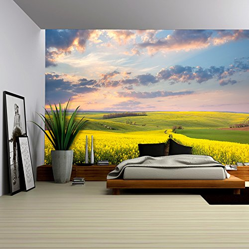 wall26 - Yellow flowering fields, ground road and beautiful valley, nature spring landscape - Removable Wall Mural | Self-adhesive Large Wallpaper - 100x144 inches (Road Mural)