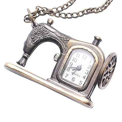 81stgeneration Women's Brass Vintage Style Sewing Machine Pocket Watch Chain Pendant Necklace, 78 (Vintage Style Pocket Watch)