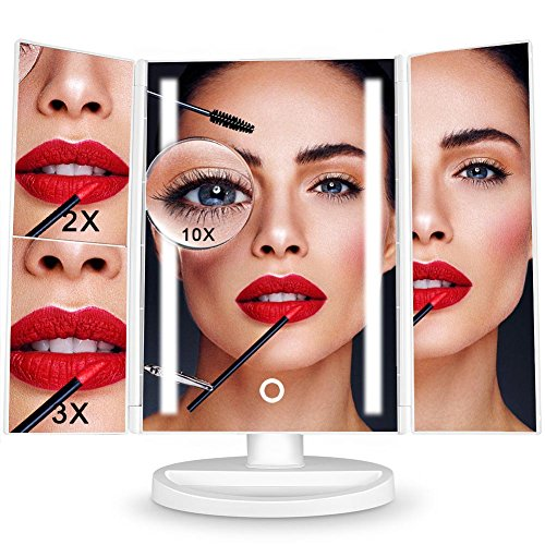 Makeup Vanity Mirror, Lighted Makeup Mirror with 2x/3x/10x Magnification, Brighter Lights Strips Trifold LED Mirror, Touch Screen, 180° Adjustable Rotation Battery and USB Powered Countertop - Color Mirror