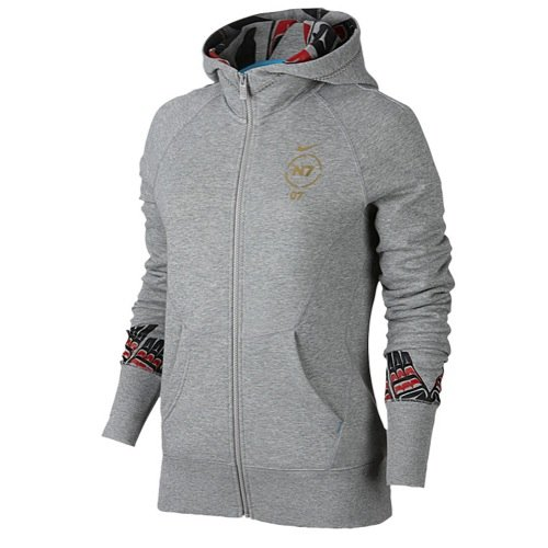 6030035ba2b6 Top9  Nike Womens N7 Graphic Full-Zip Organic Cotton Hoodie Grey