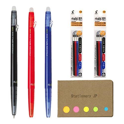 Pilot FriXion Ball Slim 038 Retractable Erasable Gel Ink Pen, Extra Fine Point 0.38mm, Black/Blue/Red Inks, 3 Pens, 6 Refills, Sticky Notes Value Set Slim Retractable Pen
