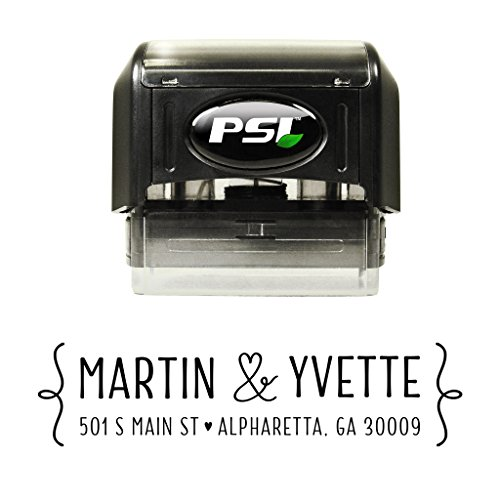 Self Inking Return Address Stamp - Heart Ampersand - Custom Stamper with Black Ink - Wedding Address Stamps