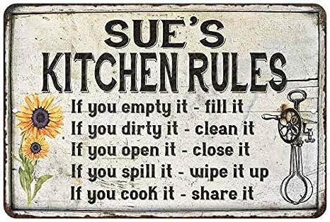 Amazon Com Sue S Kitchen Rules Chic Sign Vintage Decor 12 X