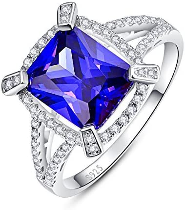 Tanzanite /& Cubic Zirconia Heart .925 Sterling Silver Ring Sizes 5-10