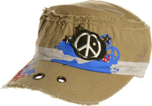 AN1225 Women's Spring Summer Star and Peace Sign Embroidered Cadet Caps - Buff
