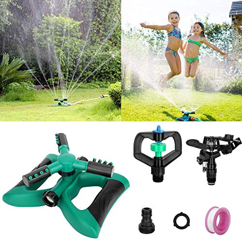 Blisstime Lawn Sprinkler, Automatic 360 Rotating Adjustable Garden Water Sprinklers Lawn Irrigation System Covering Large Area with Leak Free Design Durable 3 Arm Sprayer, Easy Hose Connection
