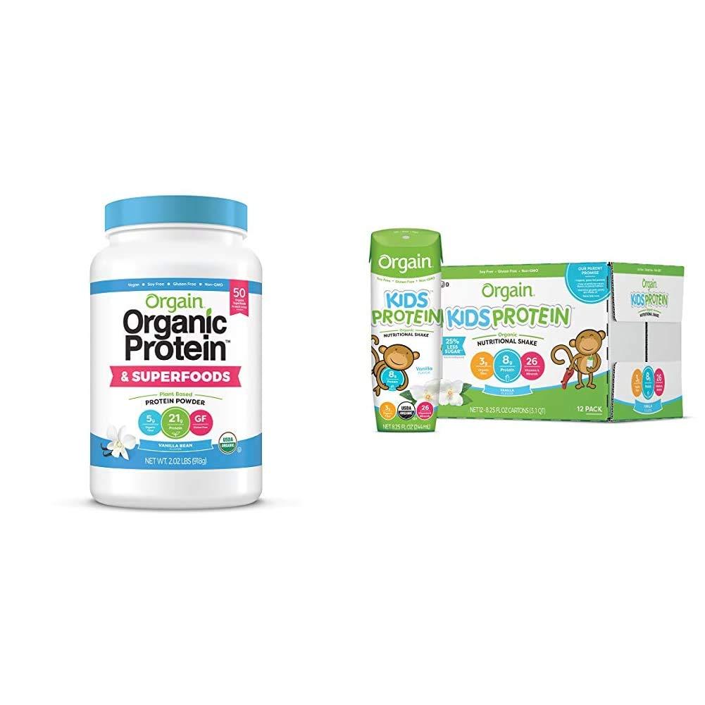 Orgain Organic Plant Based Protein + Superfoods Powder, Vanilla Bean - 2.02 lb & Organic Kids Protein Nutritional Shake, Vanilla - Great for Breakfast, 26 Vitamins & Minerals, 8.25 oz, 12 Count