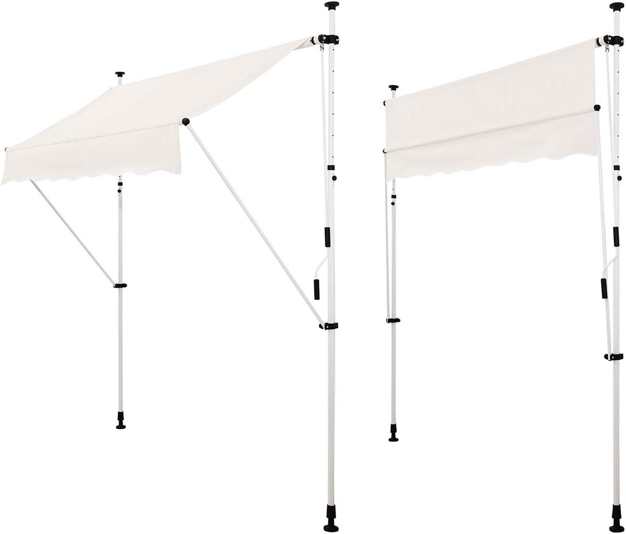ohne Bohren Beige Manuell einziehbar Strattore Klemmmarkise//Balkonmarkise Sonnenschutz Markise 200 x 120 cm