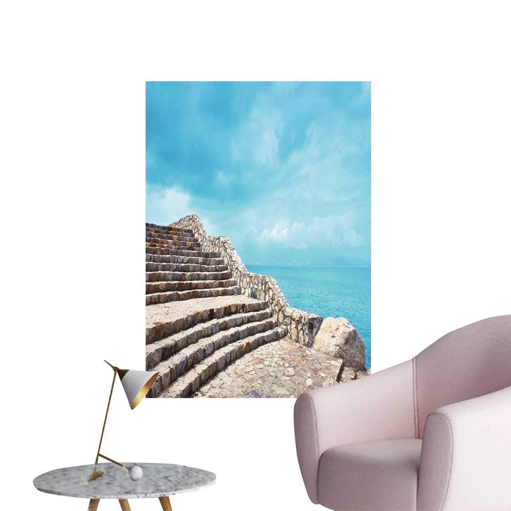 "Wall Stickers for Living Room A Stone Step Next to The Coast Vinyl Wall Stickers Print,12"" W x 20"" L"
