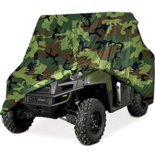 North East Harbor Heavy Duty Waterproof Superior UTV Side By Side Cover, Cover Fits Up To 120'L w/ Roll Cage - Green Camouflage