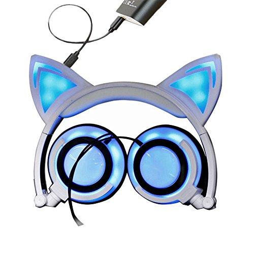 Kobwa orejas de gato auriculares auriculares diadema plegable Gaming LED luces intermitentes con carga USB computadora...