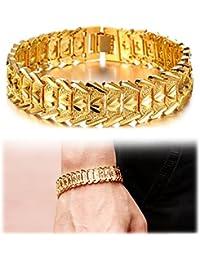 Men's 18K Gold Plated Link Bracelet Classic Carving Wrist...