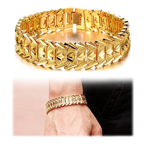Suyi Men's 18K Gold Plated Link Bracelet Classic Carving Wrist Chain Link Bangle ()