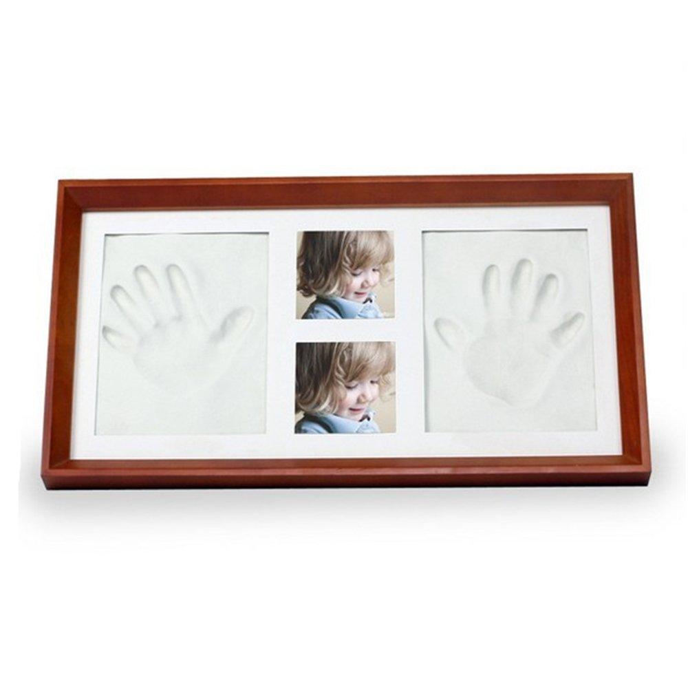 Baby Bilderrahmen für Handabdruck & Fußabdruck, RoseFlower DIY Gips & Abdrucksets für Hände und Füße als Foto-Collage - Andenken Taufe Babyabdruck Babyrahmen Taufgeschenk Neugeborene Hand Foot Print #6