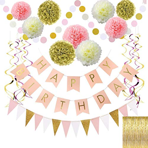 Birthday Decoration,Gold and Pink Birthday Decorations for Women,Happy Birthday Banner,Paper Garland,Gold foil Fringe curtain,foil swirls spiral garlands,Triangle banner and Dot banner.Any age, gender -