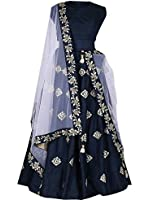 Aarvicouture Women's Crepe Silk Long Cholis Lehenga Choli (11198_Blue_Free Size)