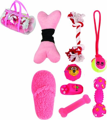 Pet Life Duffle Bag' 8 Piece Jute Rope and Rubberized Squeak Chew Pet Dog Toy Gift Set, One Size, Pink by Pet Life