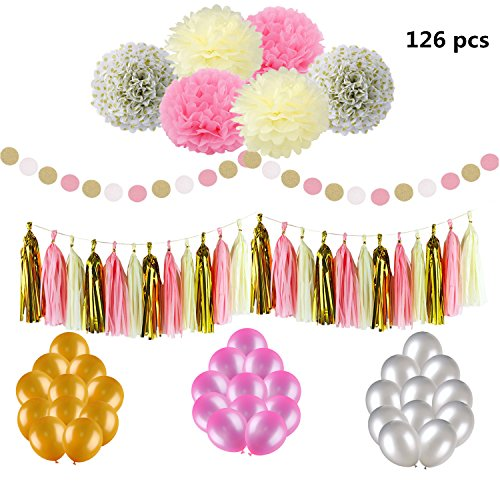 126 Pcs Latex Balloons Gold Pink Black Set with Pompom Flower Circle Garland Glitter and Long Tissue Paper for Birthday Party Decorations Wedding Bridal Shower Event (Baby Shower Decoratios)
