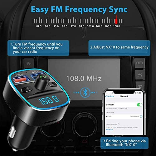 Nulaxy Bluetooth FM Transmitter for Car, QC3.0 & 7 Colors LED Backlit Car Radio Bluetooth Adapter Music Player Hands Free Car Kit with SD Card Slot, Supports USB Flash Drive - NX10 (Black)