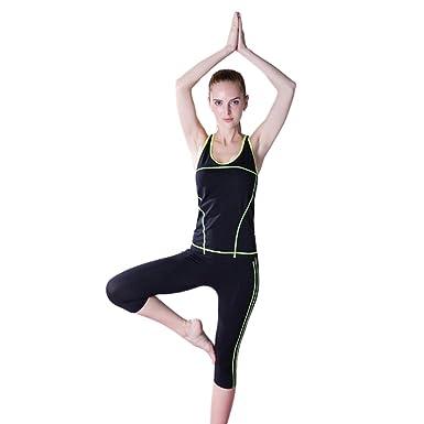 bc9251c320f Encounter Womens Athletic Yoga Gym Fitness Tank Top and Yoga Capri Pants Set  (Yellow