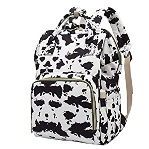 VALICLUD Diaper Bag Backpack Multi-Functional Cow Print Travel Backpack Maternity Baby Changing Bag