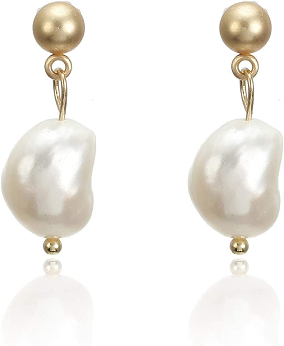 Handpicked Rough Pearl Stud Earrings Handwork Fashion Baroque Freshwater Cultured Pearls