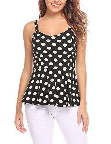Black Satin Stretch Sleeveless Top (ELESOL Women's Polka Dot Shirt Vest Sexy Blouse Stretch Tank Tops Black Dot/S)