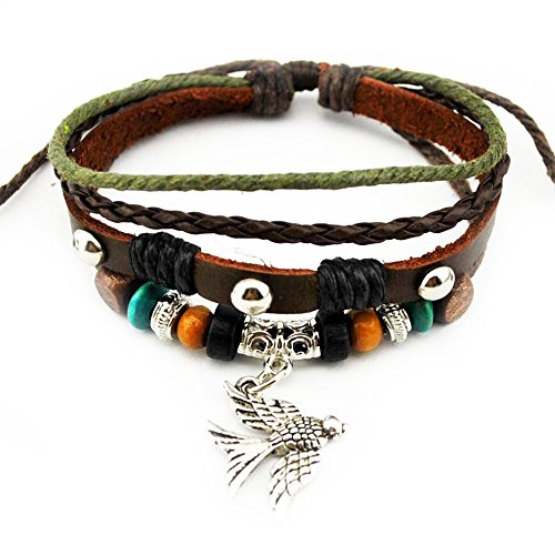 Real Spark Unisex Multi Strand Beaded Strand Bird Charms Braided Leather Wrap Bracelet