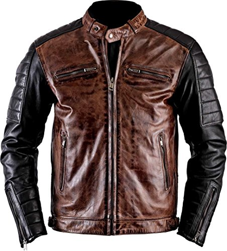 (III-Fashions Mens Black & Brown Cafe Racer Retro Brando Vintage Quilted Motorcycle Leather Biker Jacket)