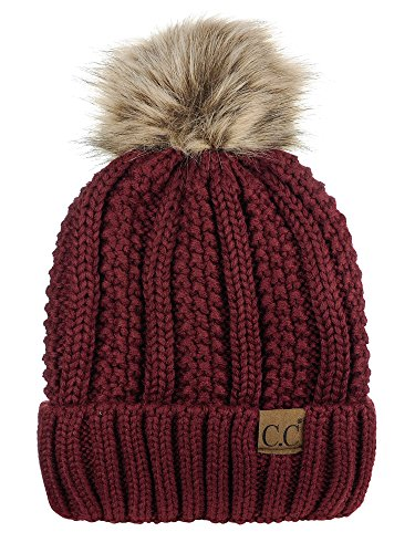 Maroon Womens Hat - C.C Thick Cable Knit Faux Fuzzy Fur Pom Fleece Lined Skull Cap Cuff Beanie, Maroon