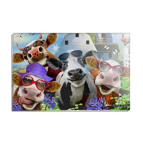(Udderly Cool Cow Farm Selfie Rectangle Acrylic Fridge Refrigerator Magnet)
