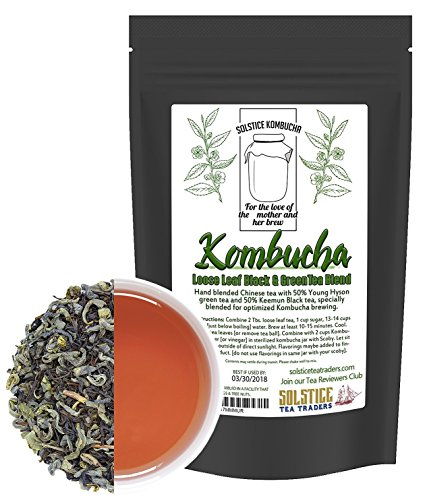 Kombucha Loose Leaf Black and Green Tea 50/50 Blend, 120 Servings, Keemun Black & China Young Hyson Green Tea for Brewing Kombucha (8-Ounces Total) (Best Tea For Kombucha Brewing)