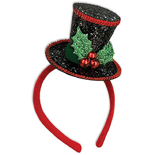 Black Caroler Christmas Costume Mini Top Hat With Mistletoe (Figure Tall Caroler)