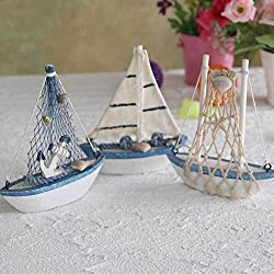 3Pcs/lot Mediterranean Style Wooden MiNi Net Ship Sailing Ship furnishing articles handmade Nautical Home Decor